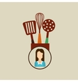 kitchen utensils icon woman vector image