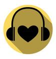 headphones with heart  flat black icon vector image
