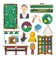 Billiards Icons Flat vector image