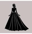 The black silhouette of a bride in wedding dress vector image