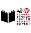 Open Book Flat Icon with Bonus vector image