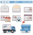 Postal Icons Set 7 vector image