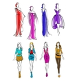 Colorful silhouettes of women in casual outfits vector image vector image
