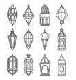 arabic or islamic lanterns set vector image