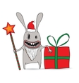 Cartoon of a cool new year rabbit with star and vector image