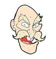 Comic cartoon evil old man face vector image
