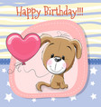 cute cartoon puppy with balloon vector image