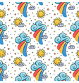 Funny pattern with sun cloud and rainbow vector image