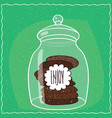 glass jar with stack of chocolate cookies inside vector image