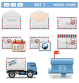 Postal Icons Set 7 vector image