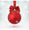 Red Christmas ball with ribbon and a bow vector image