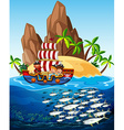 Scene with pirate ship and fish in the sea vector image