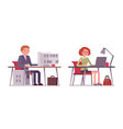 set of male and female office workers sitting at vector image