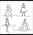 set silhouette of a slender bride vector image