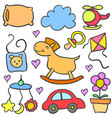 doodle of baby colorful set style vector image