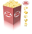 Popcorn in a striped tub vector image vector image