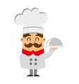 funny chef with tray avatar character vector image