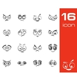 black cartoon eyes set vector image vector image