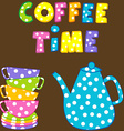 Coffee time with stacked colorful cups and coffee vector image vector image