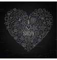 Chalk board I love Sea in the form of heart vector image