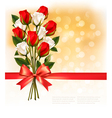 Bouquet of red and white roses with a red ribbon vector image vector image