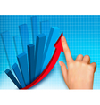 business colorful graph with hand vector image vector image