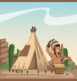 american indian cartoon in desert vector image