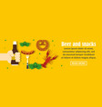 beer and snacks banner horizontal concept vector image