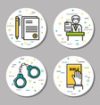 Four round law and judicial icons vector image