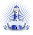 Nautical emblem with Blue lighthouse vector image
