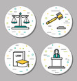 four round judiciary linear icons vector image vector image