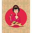 Abstract card with sushi and geisha vector image vector image