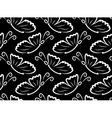 butterflies seamless pattern black and white vector image