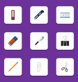 flat icon stationery set of clippers rubber vector image