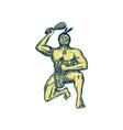 Maori Warrior Wielding Patu Kneeling Etching vector image