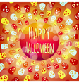 Orange Halloween background with colorful skulls vector image