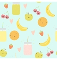 Seamless pattern with smoothie jars and funny vector image