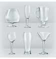 Set of transparent glasses goblets cocktail vector image