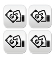 Hand with money buttons set - dollar euro yen vector image vector image