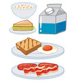 set of breakfast with egg and milk vector image