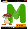 letter m with mushroom cartoon vector image vector image