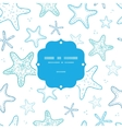 Starfish blue line art frame seamless pattern vector image vector image