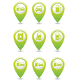 Gas station icons on green map pointers vector image vector image