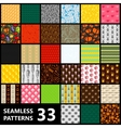 big set of 33 seamless patterns Food and drinks vector image