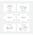 Business card set with tea service icons Doodle vector image