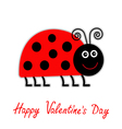 Cartoon red lady bug Happy Valentines Day vector image