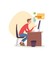 man sitting in office working with computer vector image