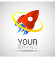 Abstract red color rocket logo Startup design vector image