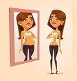thin woman looking at mirror and seeing fat woman vector image
