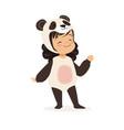 cute happy little girl dressed as a panda kids vector image